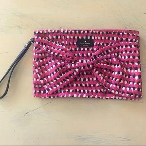 Kate Spade Pink White Black Polka Dot Bow Wristlet